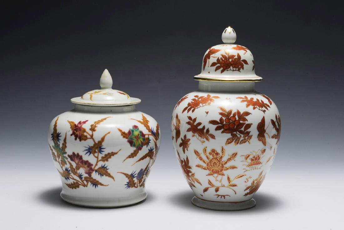 Group of 2 Chinese Floral Porcelain Jars 19th - 20th C