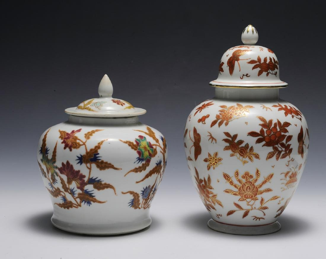 Group of 2 Chinese Floral Porcelain Jars 19th - 20th C - 3
