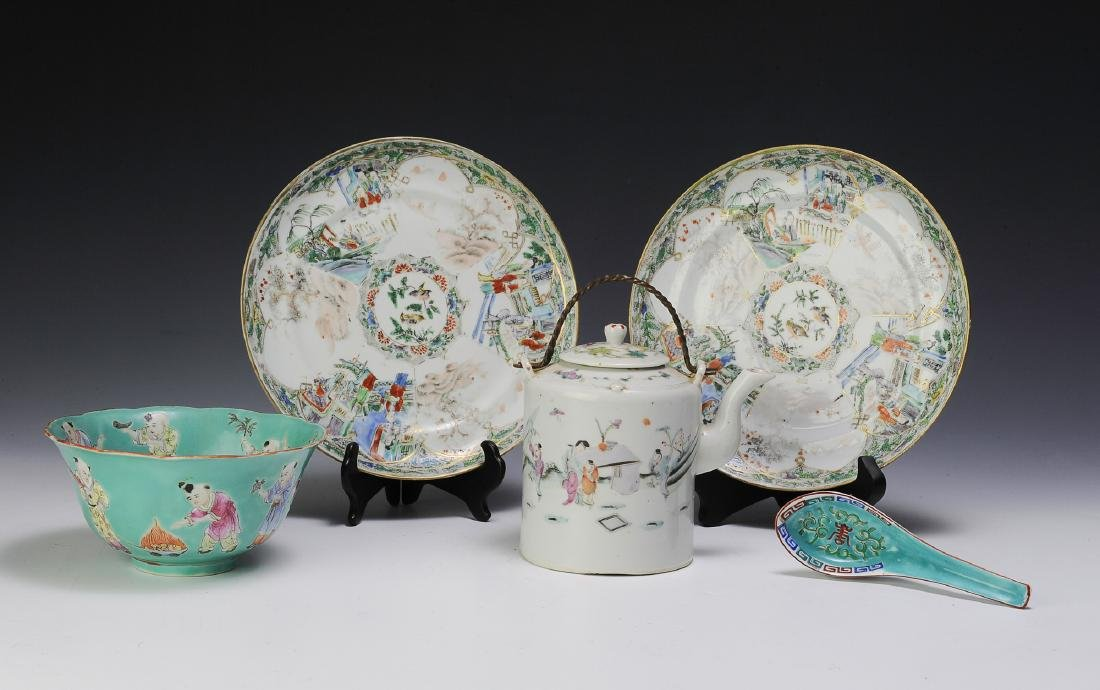 Chinese Teapot & 4 Pieces of Porcelain, 19th - 20th C