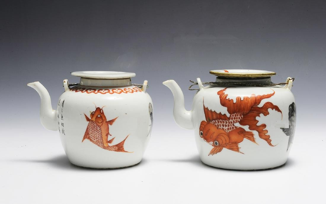 Group of 2 Chinese Teapots w/ Goldfish, 19th C