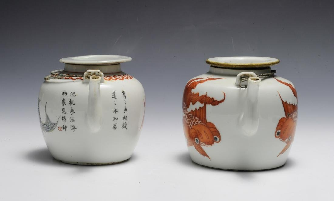 Group of 2 Chinese Teapots w/ Goldfish, 19th C - 2
