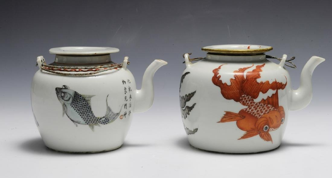 Group of 2 Chinese Teapots w/ Goldfish, 19th C - 3