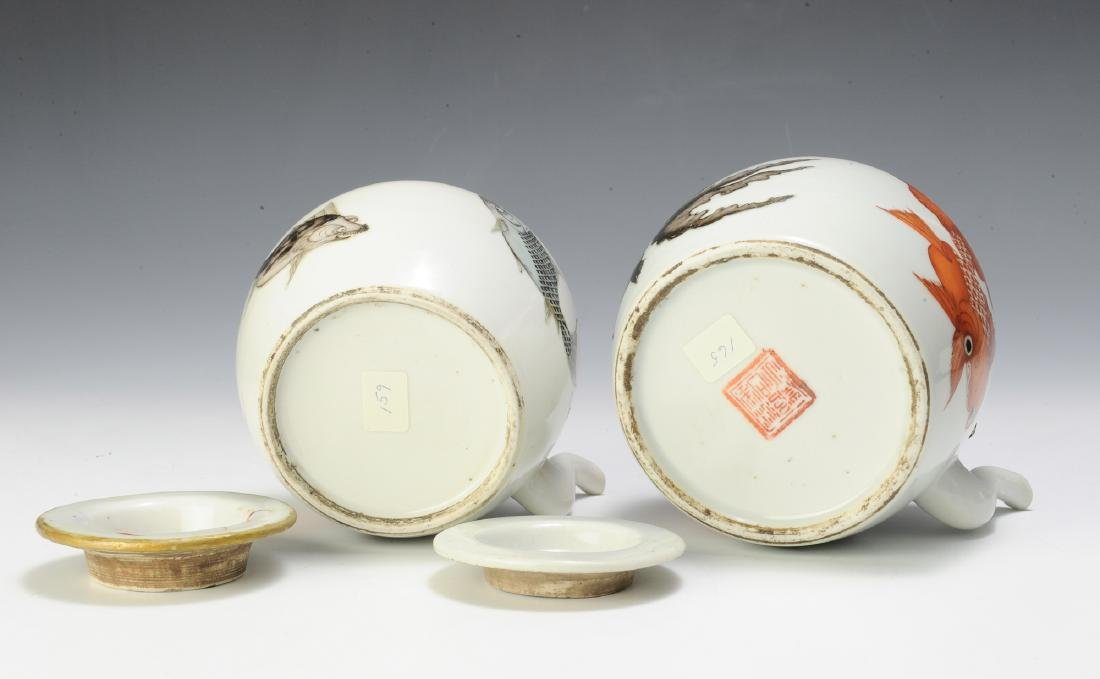Group of 2 Chinese Teapots w/ Goldfish, 19th C - 4