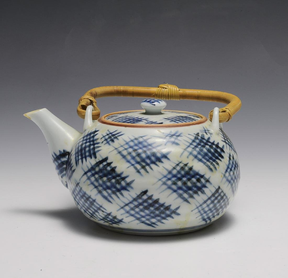 Blue & White Chinese Teapot w/ Bamboo Handle