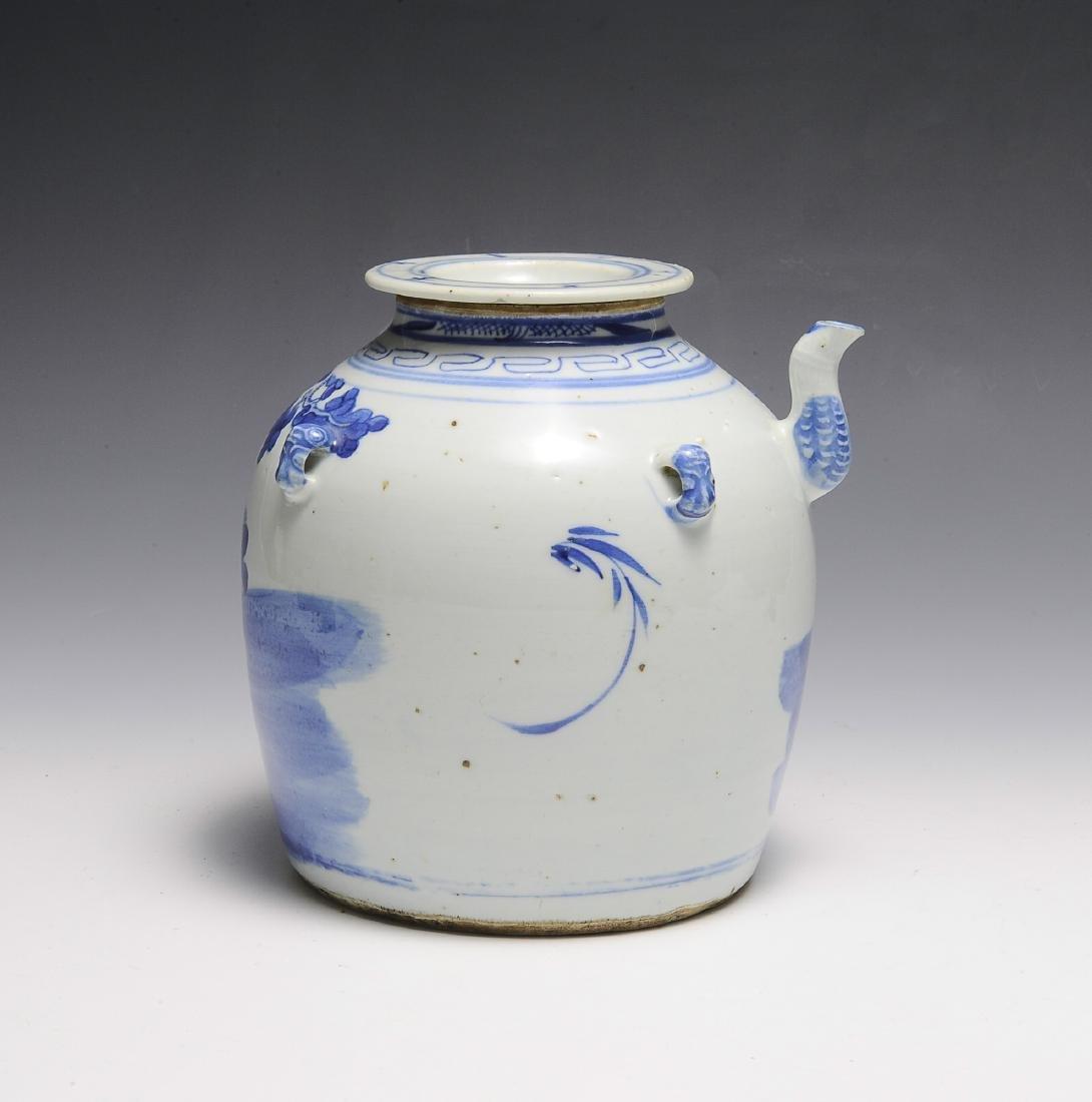 Chinese Blue & White Ceramic Teapot, 19th C