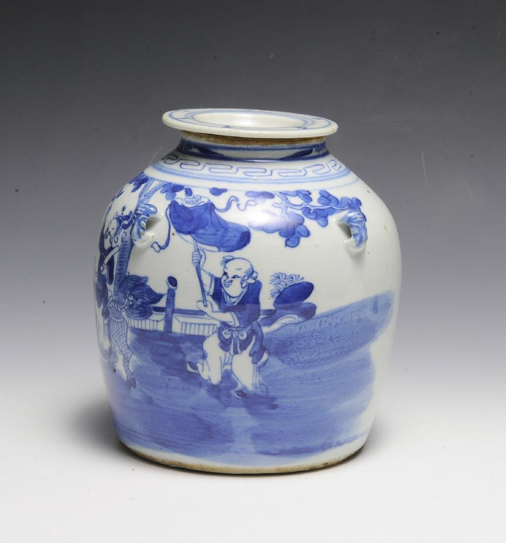 Chinese Blue & White Ceramic Teapot, 19th C - 2