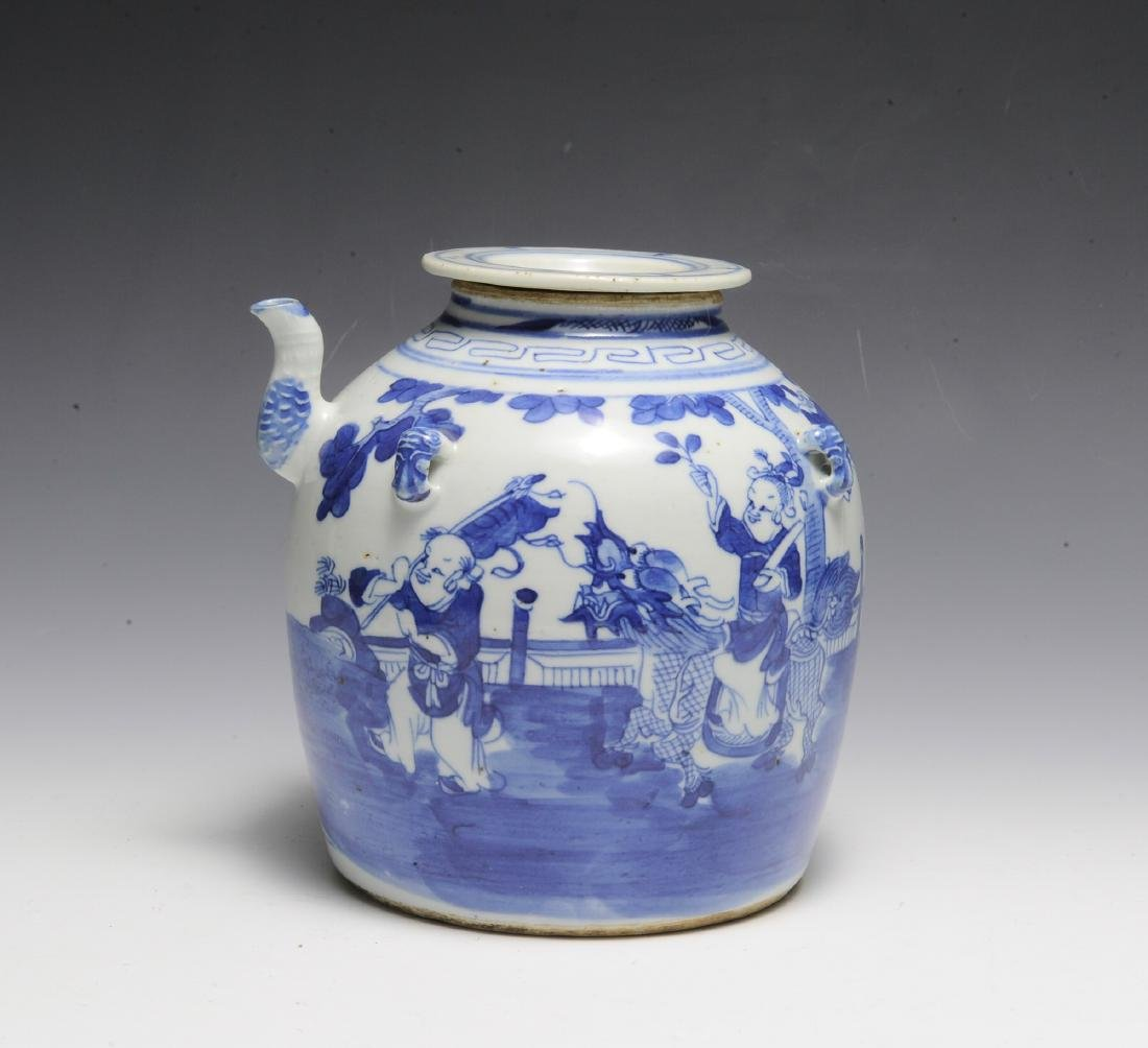 Chinese Blue & White Ceramic Teapot, 19th C - 3