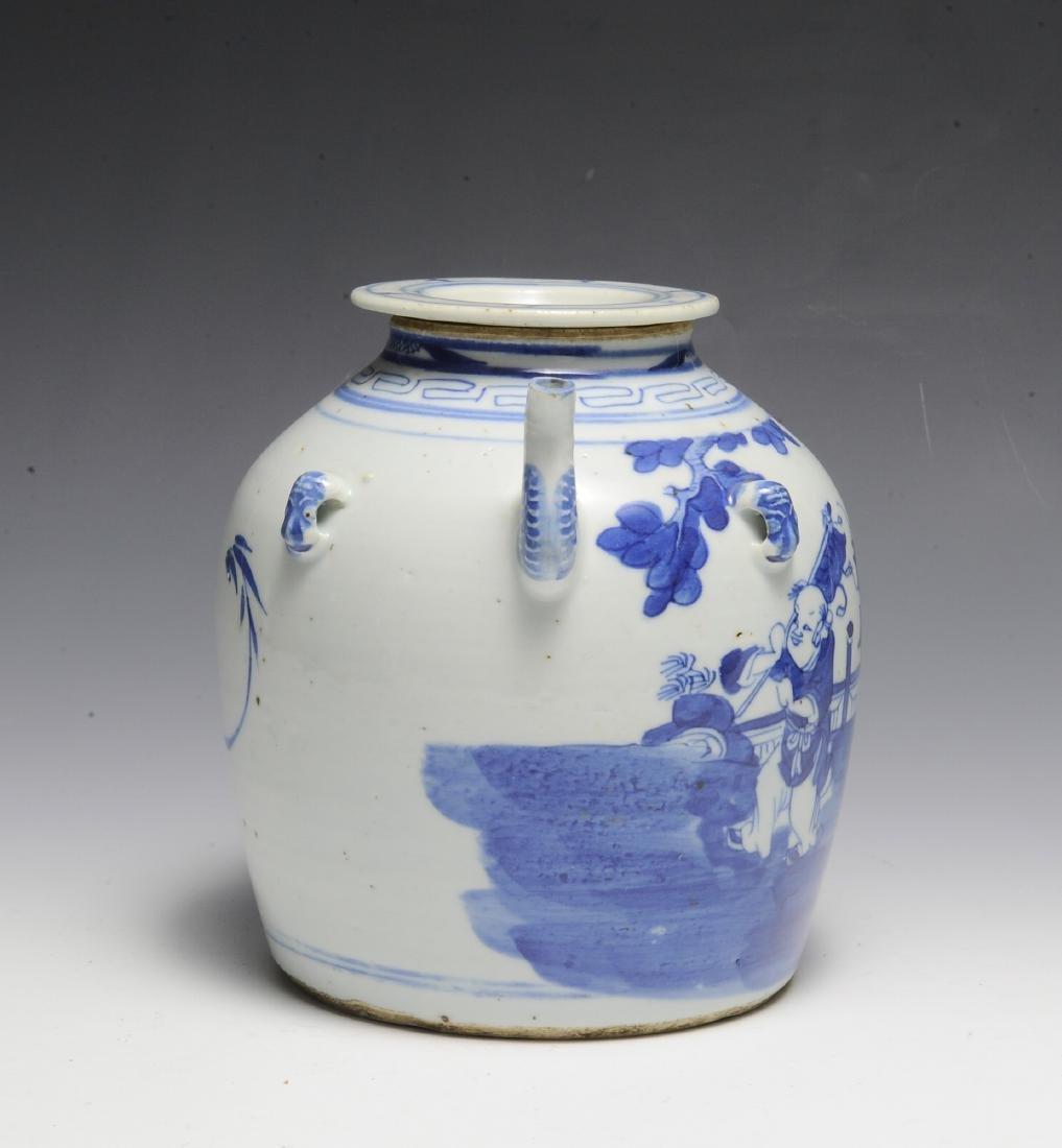 Chinese Blue & White Ceramic Teapot, 19th C - 4