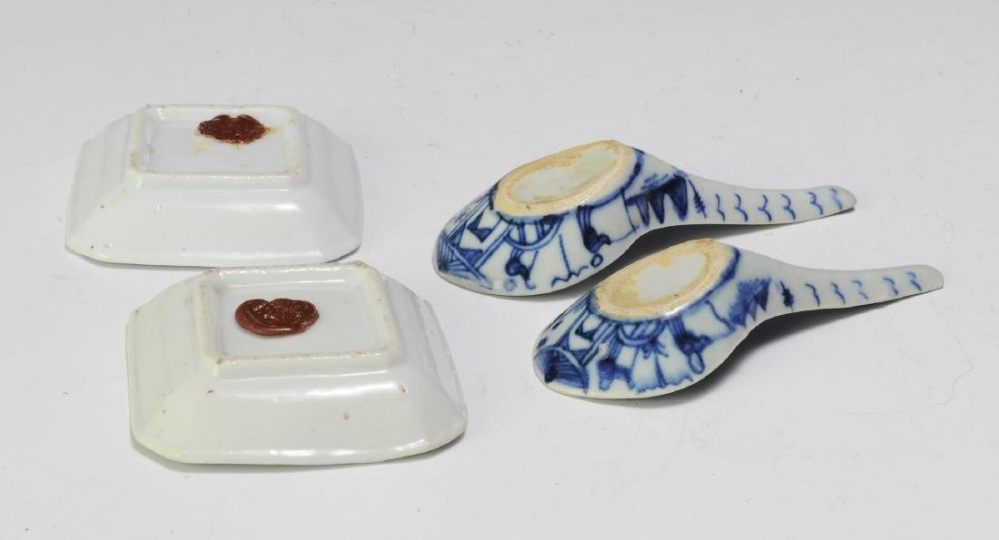 Chinese Blue & White 2 Dishes & 2 Spoons, 19th C - 2