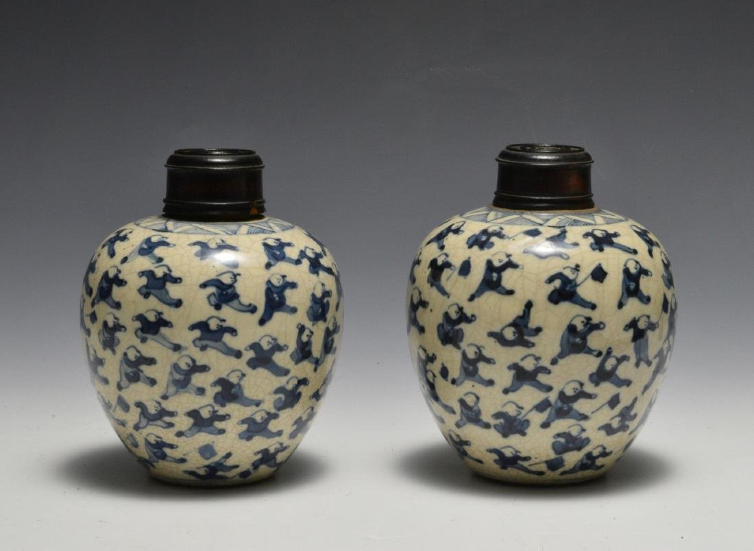 Pair of Blue & White Lidded Jars w/ Figures 19th C