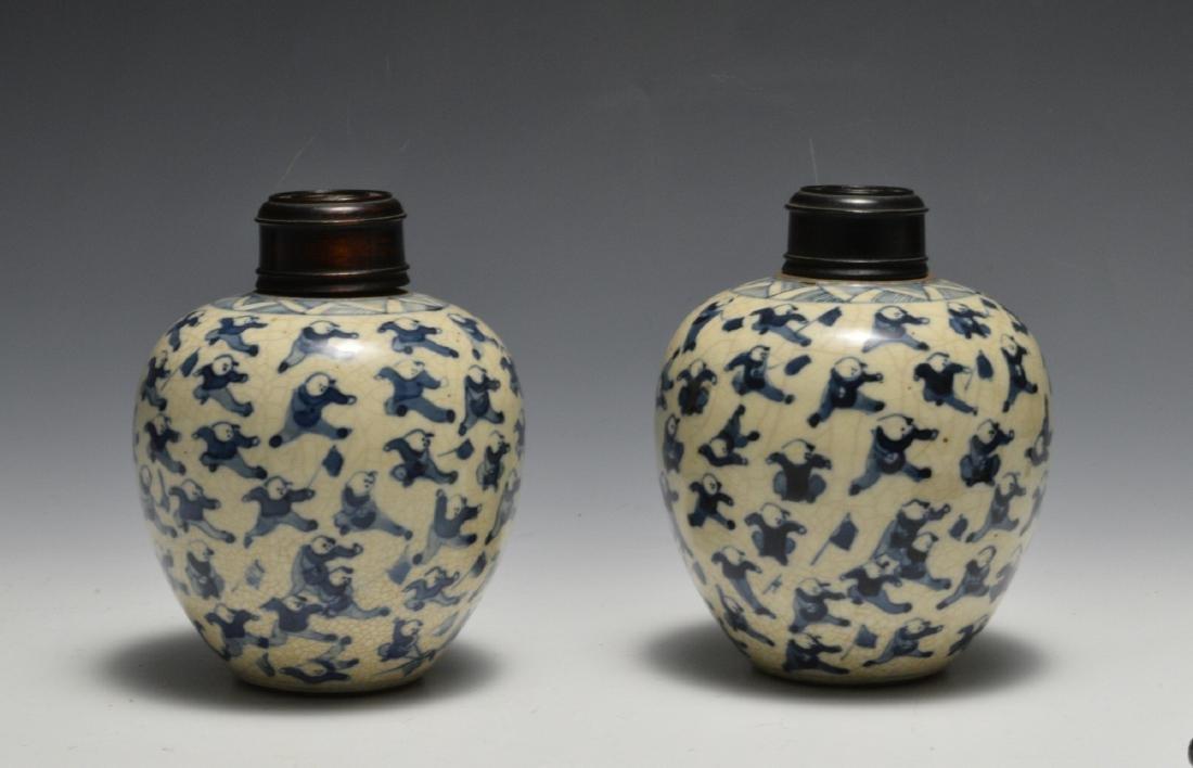 Pair of Blue & White Lidded Jars w/ Figures 19th C - 2