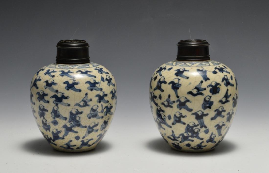 Pair of Blue & White Lidded Jars w/ Figures 19th C - 3