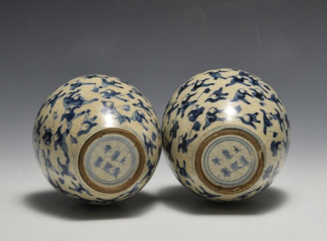 Pair of Blue & White Lidded Jars w/ Figures 19th C - 4