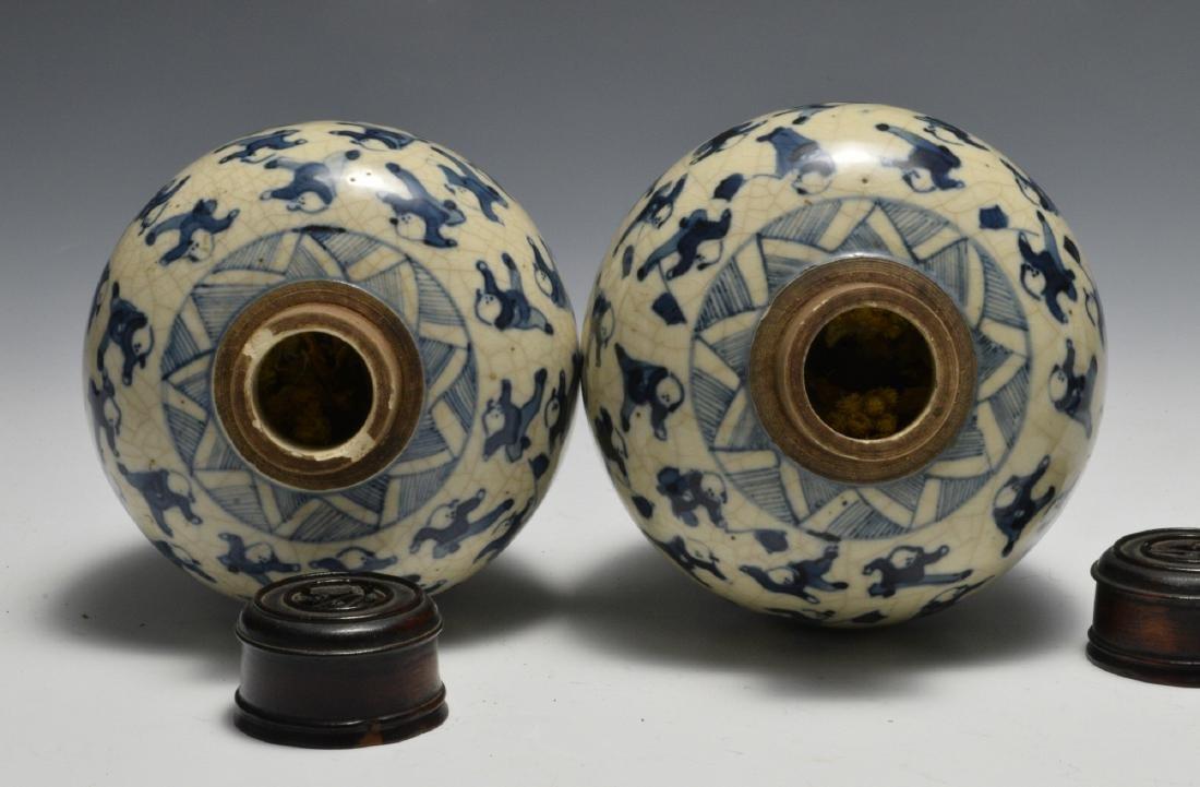 Pair of Blue & White Lidded Jars w/ Figures 19th C - 5