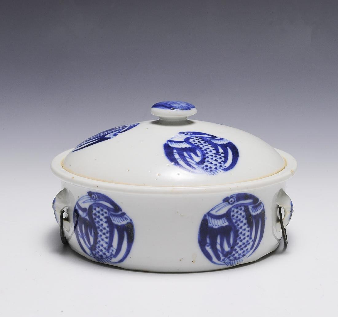 Chinese Blue & White Porcelain Warmer w/ Lid