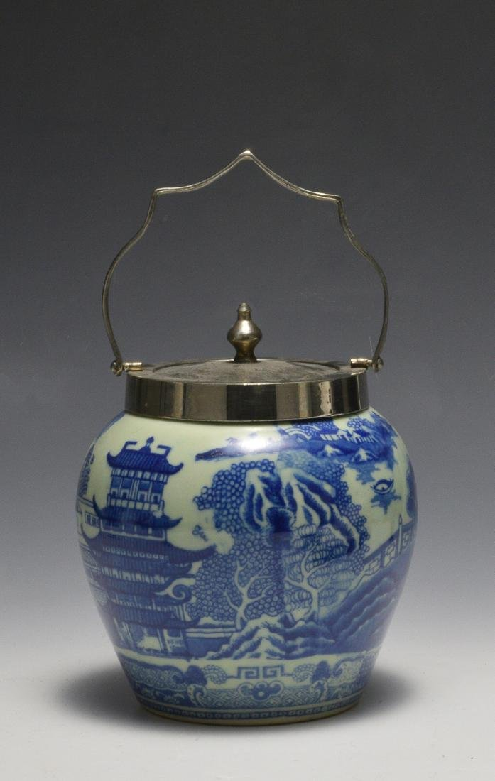 Chinese Style Blue & White Jar w/ Metal Lid