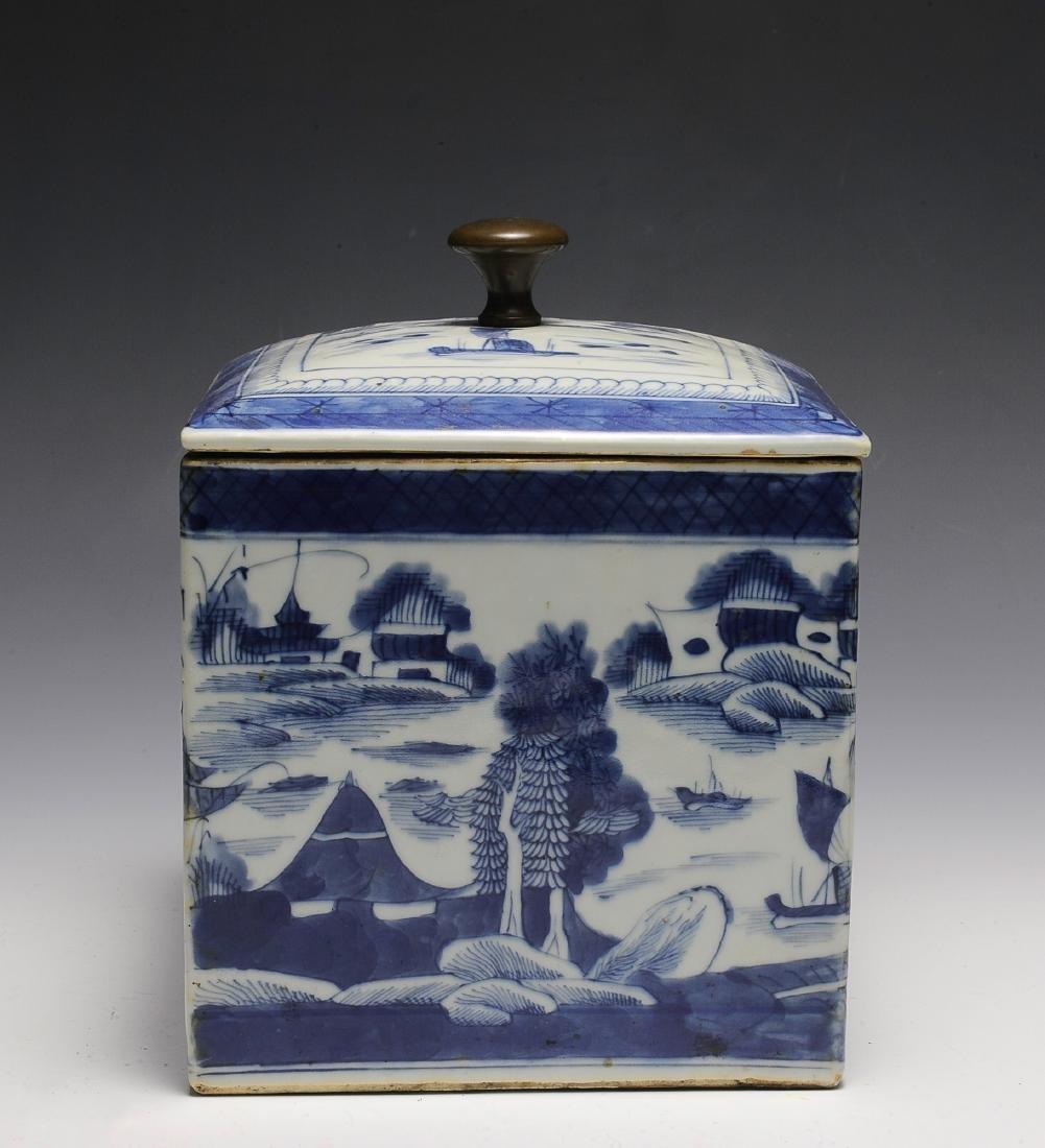Chinese Blue & White Porcelain Box, 19th  Century
