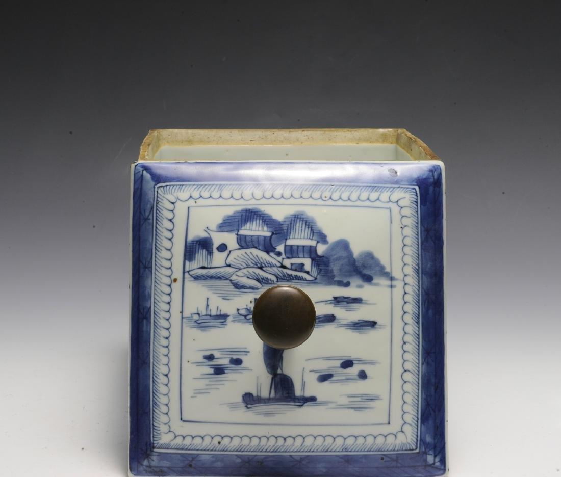 Chinese Blue & White Porcelain Box, 19th  Century - 5
