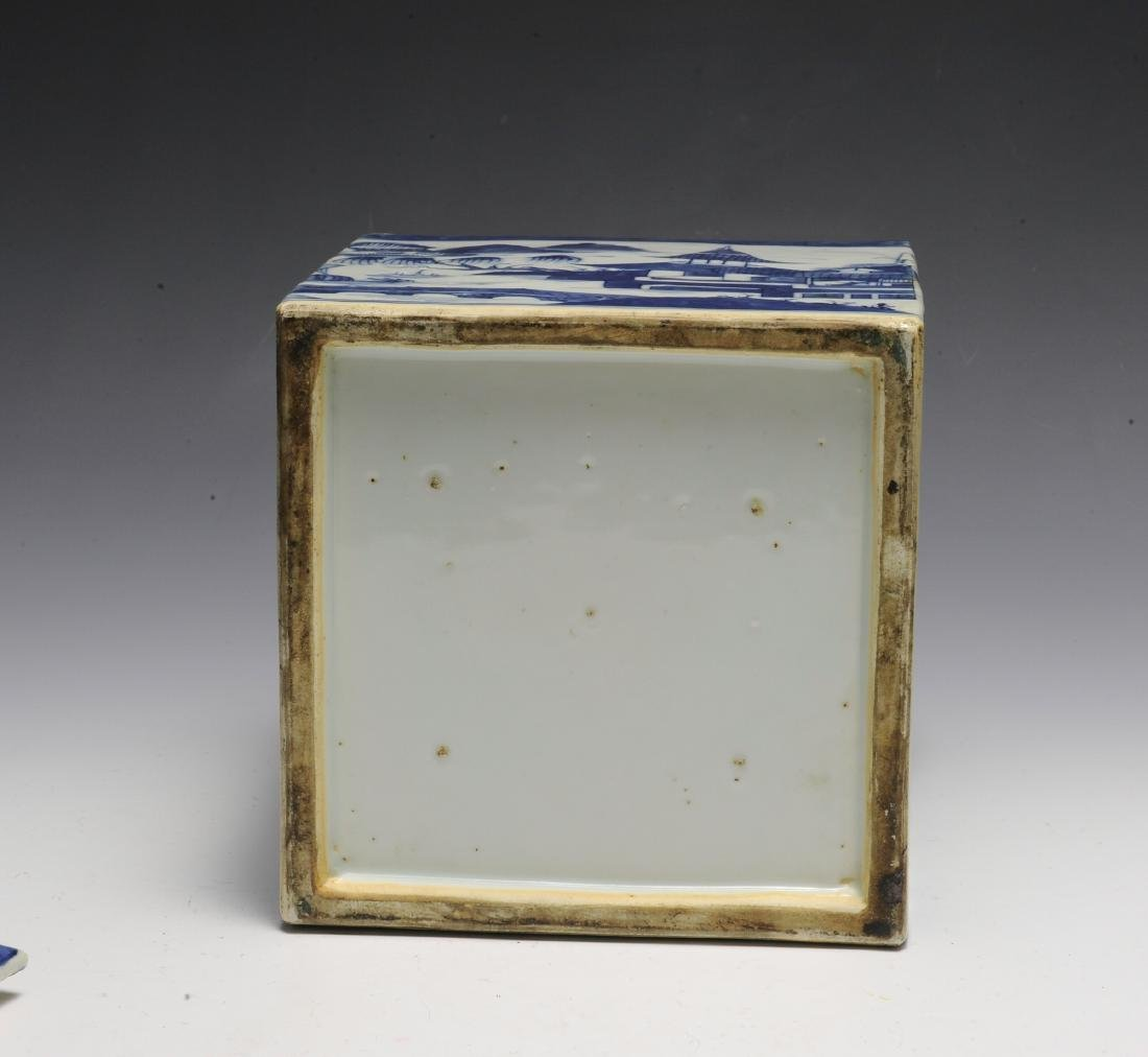 Chinese Blue & White Porcelain Box, 19th  Century - 6