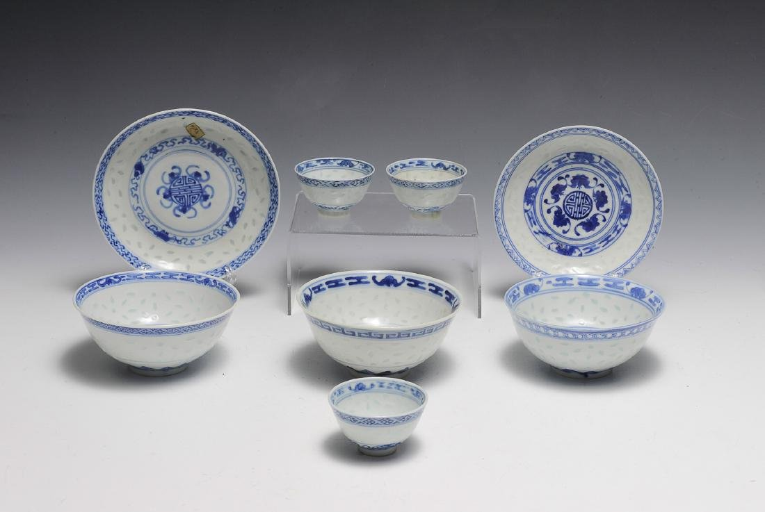 8 pieces of Chinese Blue & White porcelain