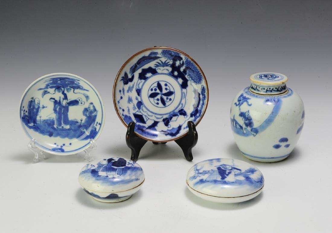 Chinese Group of 2 Seal Boxes, 2 Dishes & Jar 18-19th C