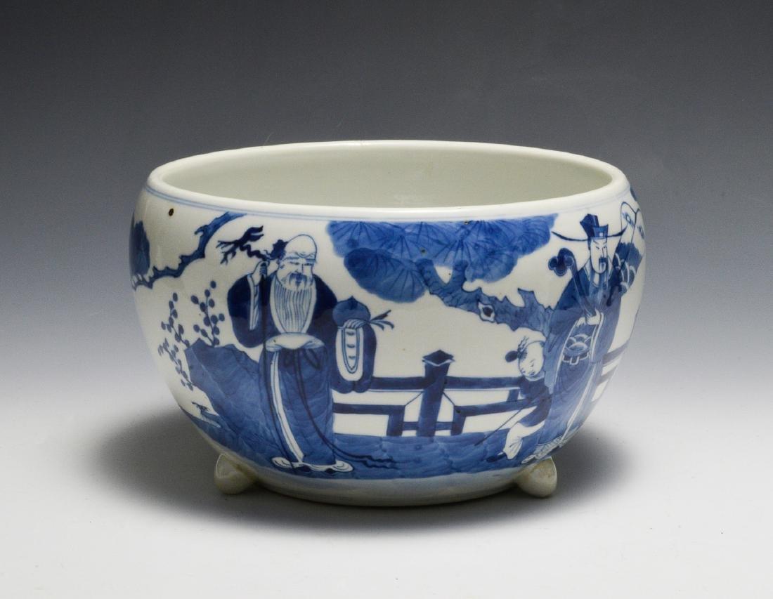 Chinese Blue & White Bowl w/ Fu, Lu, and Shou, 19th C