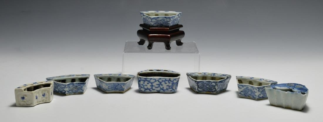 8 Chinese Blue & White Porcelain Ink Wells, 19th C
