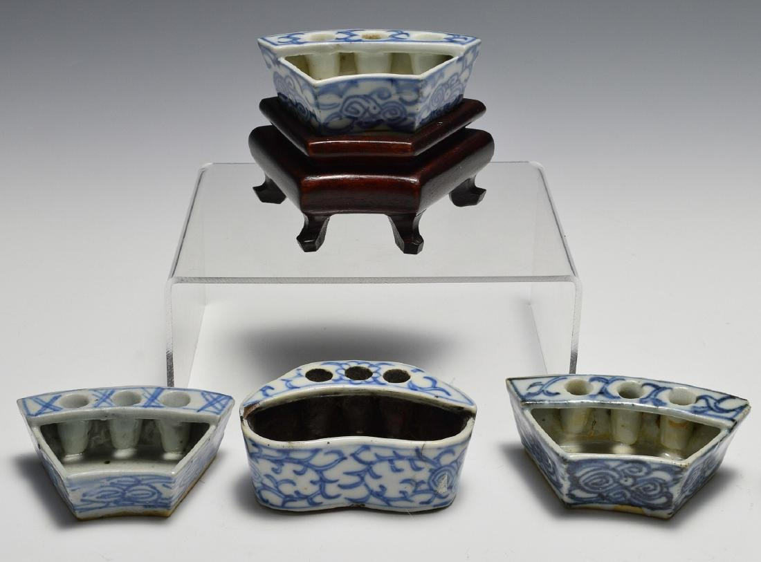 8 Chinese Blue & White Porcelain Ink Wells, 19th C - 2