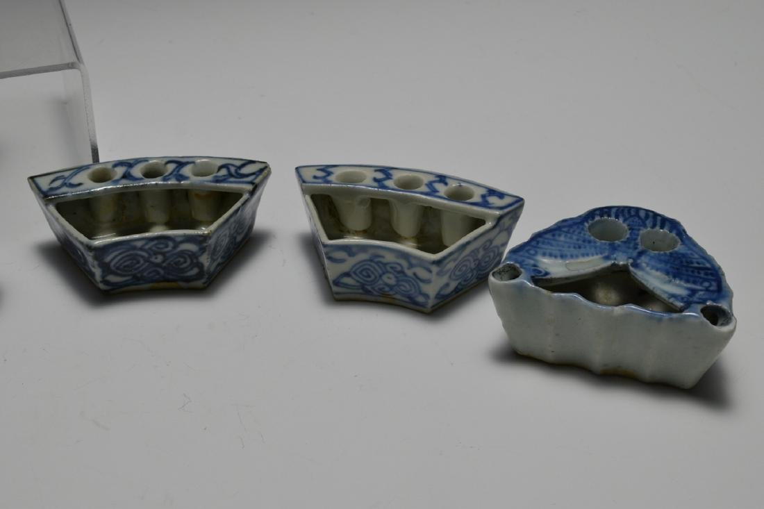 8 Chinese Blue & White Porcelain Ink Wells, 19th C - 4