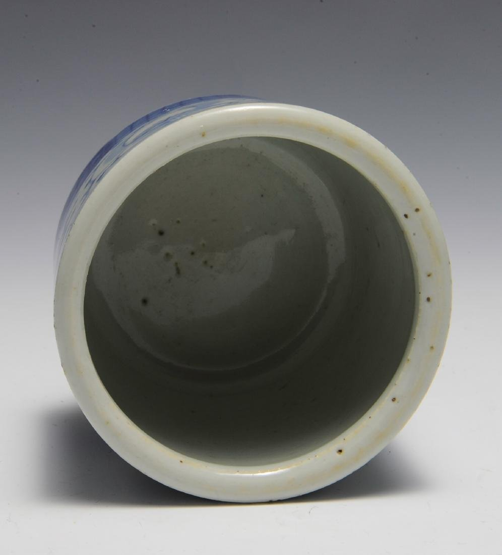Small Chinese Blue & White Brush Pot, 19th C - 5
