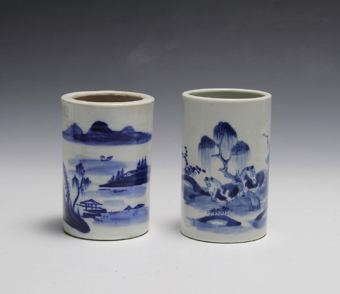 Chinese Pair of Blue & White Brush Pots