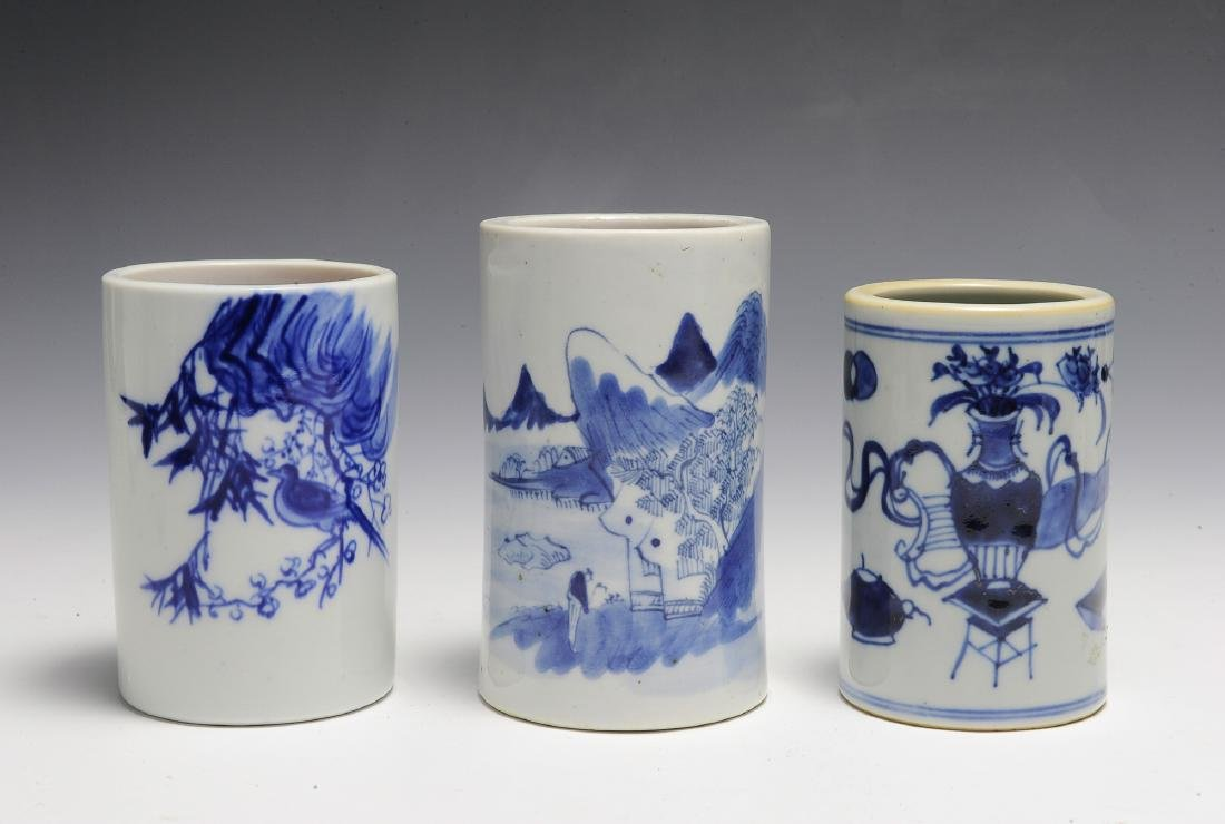 Group of 3 Small Chinese Blue & White Brush Pots