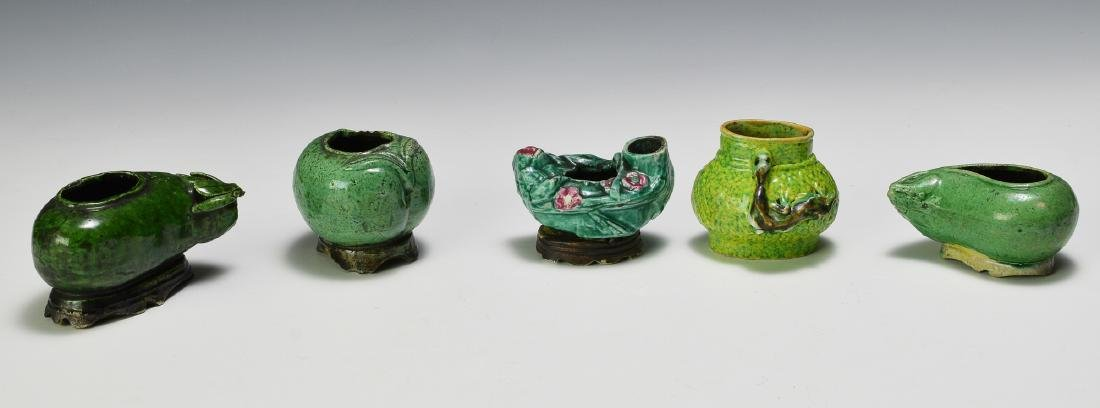 Group of 5 Chinese Green Fruit Form Scholars Items 19 C