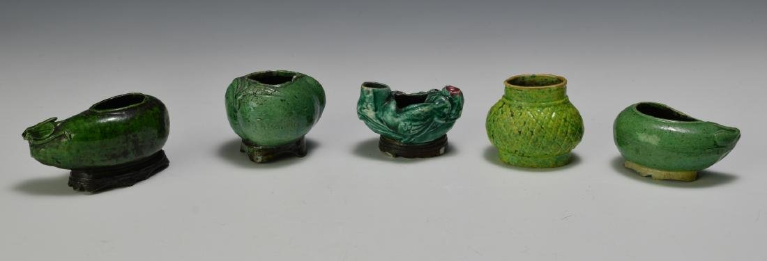 Group of 5 Chinese Green Fruit Form Scholars Items 19 C - 2