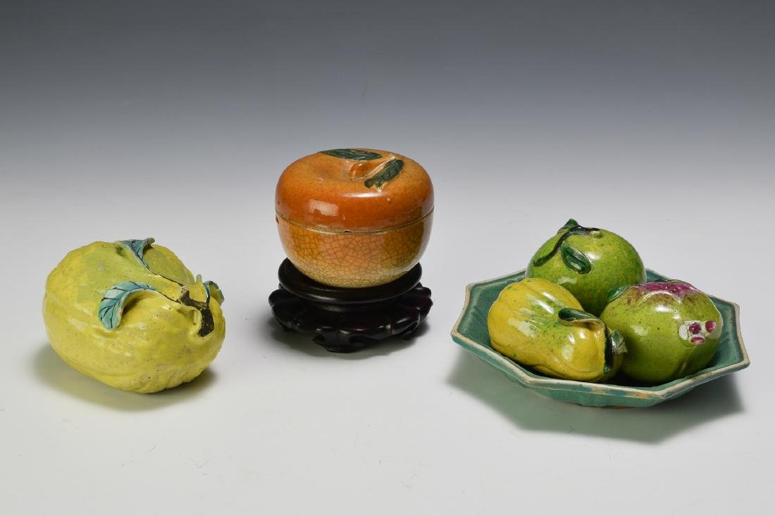 Chinese Green Tray w/ Five Fruit Ornaments, 19th C