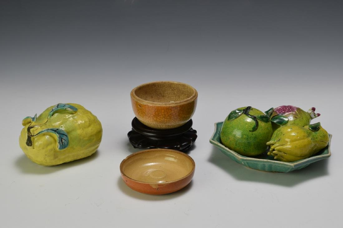 Chinese Green Tray w/ Five Fruit Ornaments, 19th C - 2