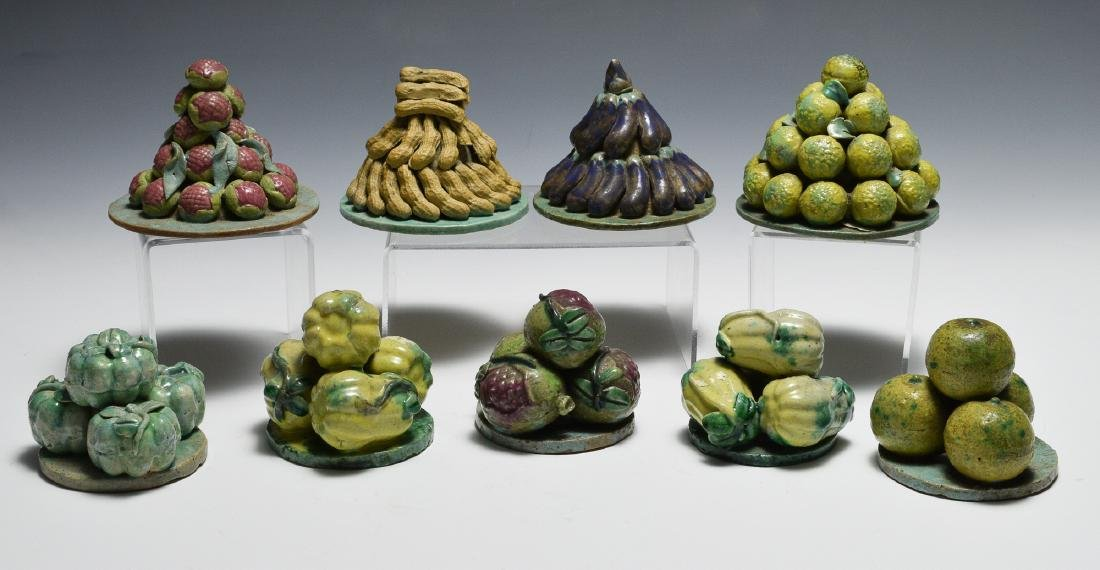Group of 9 Chinese Stacked Fruit Sculptures, 19th C