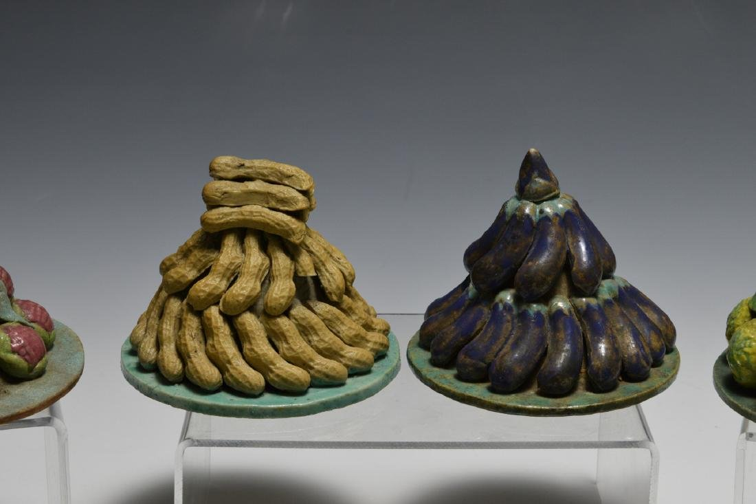 Group of 9 Chinese Stacked Fruit Sculptures, 19th C - 2