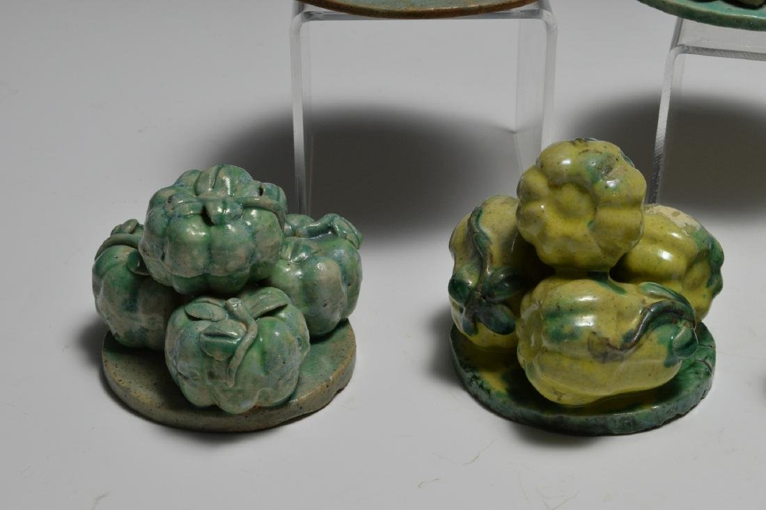 Group of 9 Chinese Stacked Fruit Sculptures, 19th C - 3