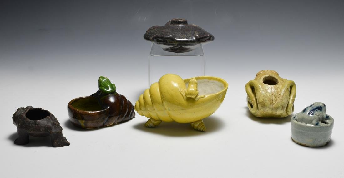 6 Chinese Frog Form Scholars Items, 19th C - 2