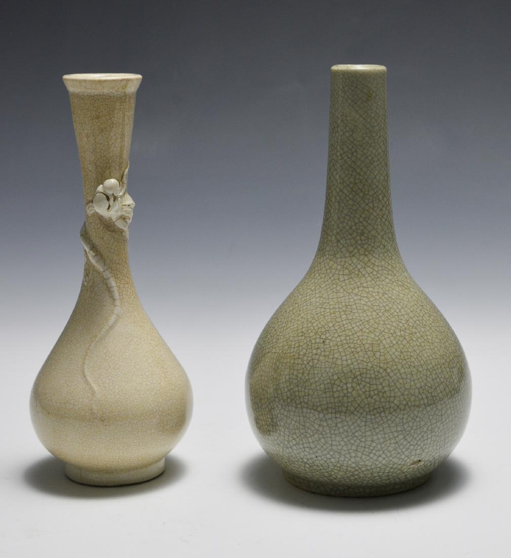 2 Chinese Ge Glaze Vases