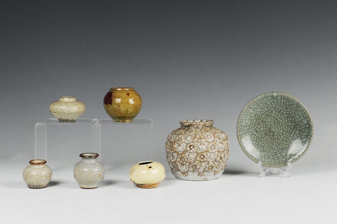 7 Chinese Ge Glaze & Flambe Scholars Items