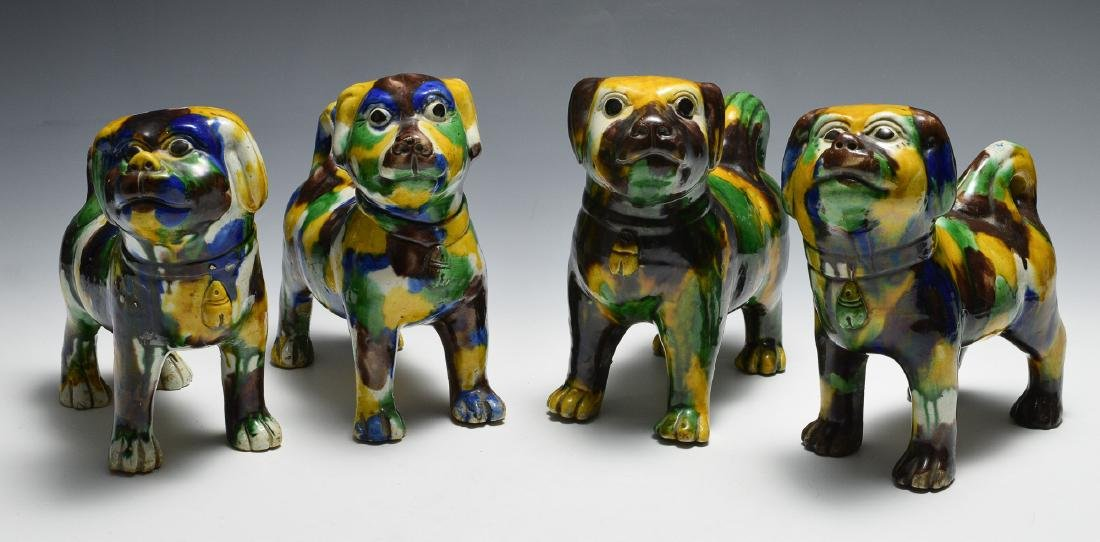 4 Large Chinese Tri-color Ceramic Dogs, 18th -19th C