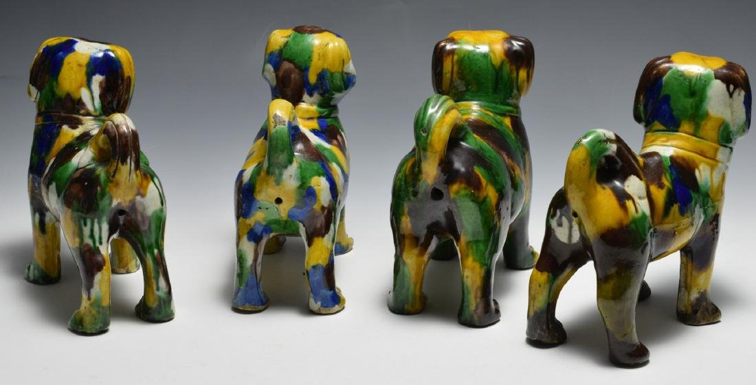 4 Large Chinese Tri-color Ceramic Dogs, 18th -19th C - 2