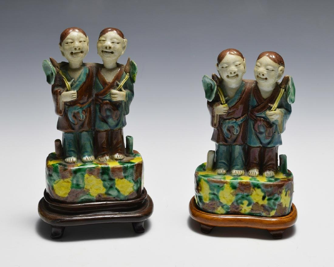Pair of Chinese Tri-Color Harmony Twins Stand