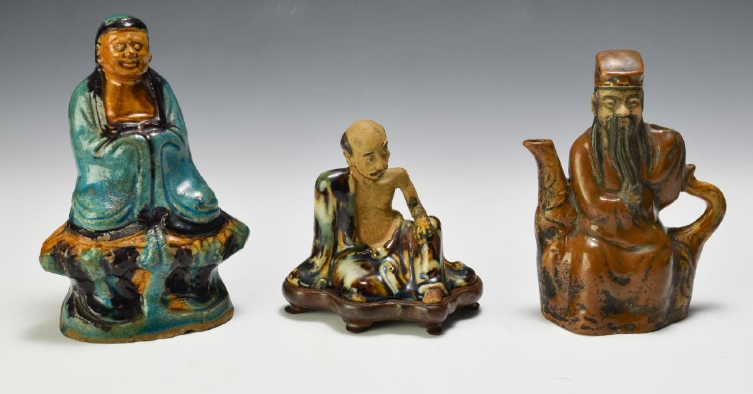 3 Chinese Shiwan Tri-color Figures 18th - 19th C