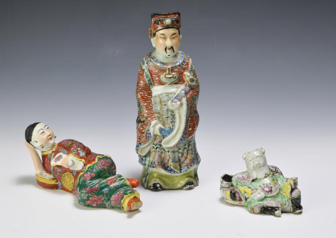 3 Chinese Famille Rose Porcelain Figures 18th - 19th C