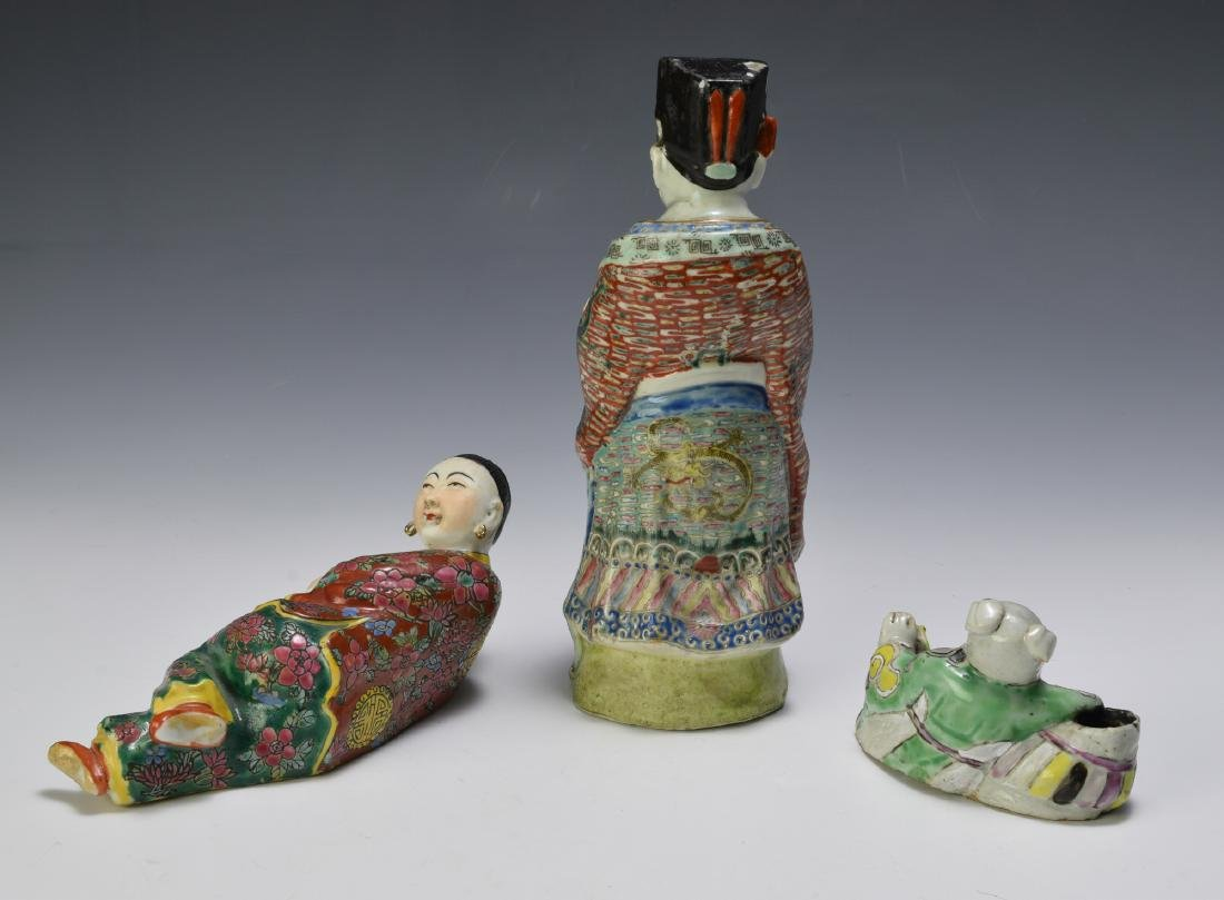3 Chinese Famille Rose Porcelain Figures 18th - 19th C - 2