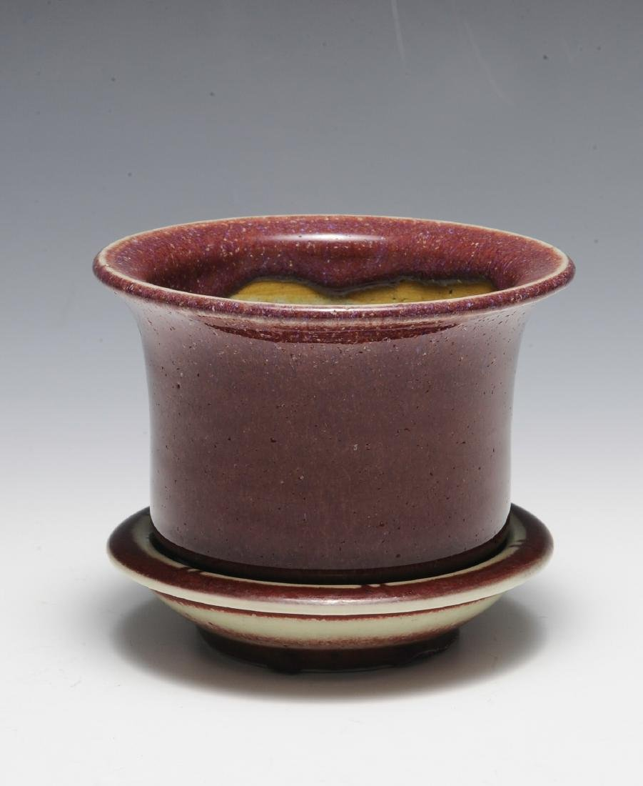 Chinese Small Red Glazed Planter & Tray, 18th - 19th C - 2
