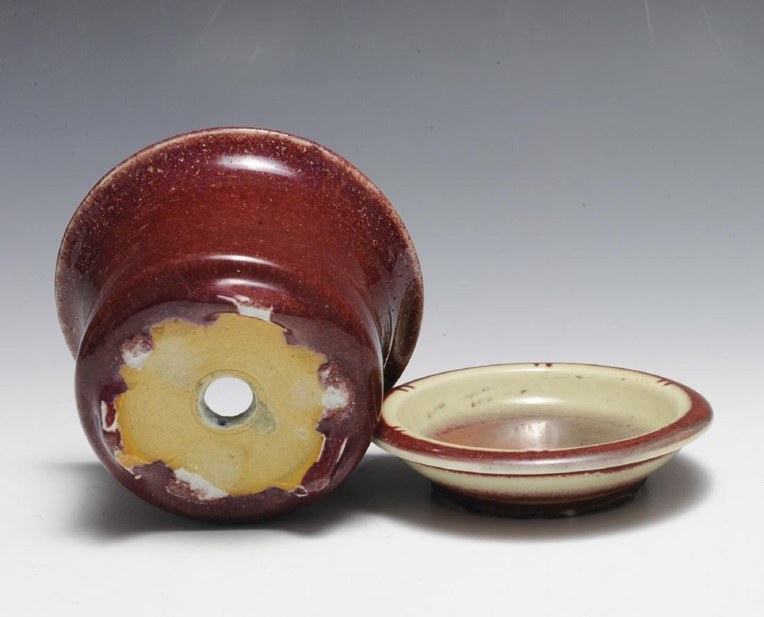 Chinese Small Red Glazed Planter & Tray, 18th - 19th C - 4